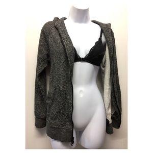 UO | BDG Heather Grey / Black Zip-Up Hoodie comfy!